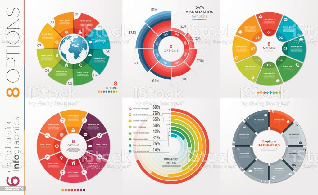 Collection of 6 vector circle chart templates 8 options. vector art illustration