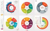 istock Collection of 6 vector circle chart templates for infographics with 5 options. 689112396