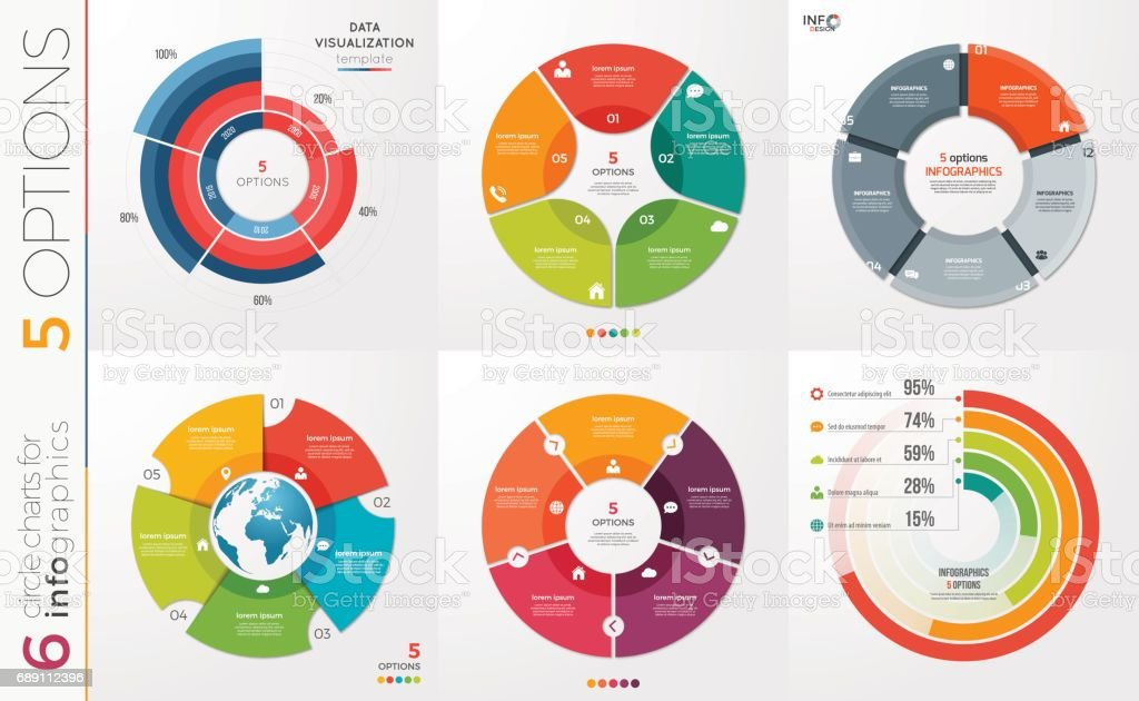 Collection of 6 vector circle chart templates for infographics with 5 options. vector art illustration