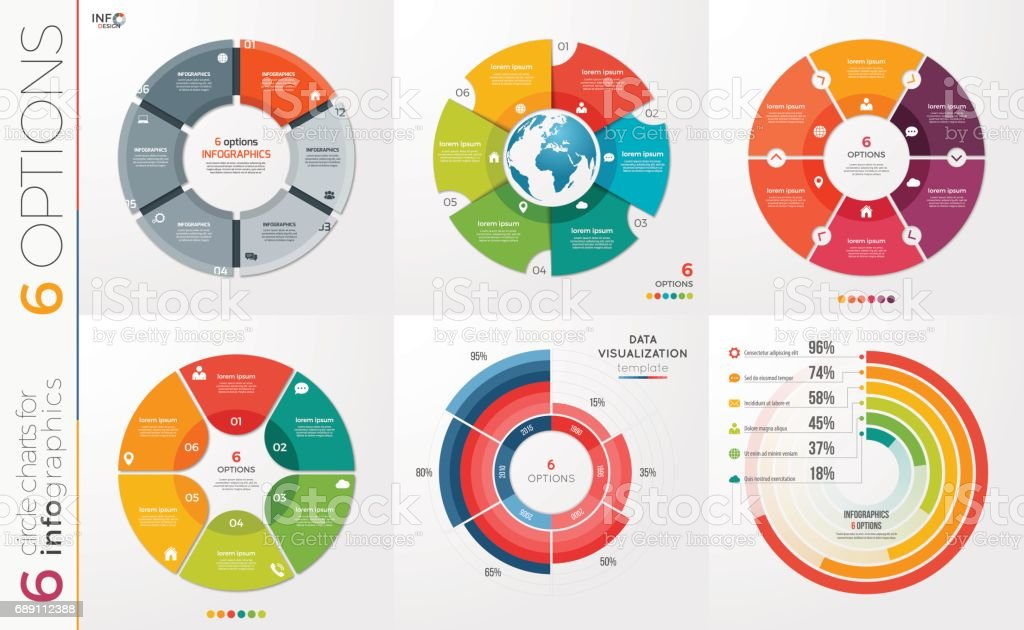 Collection of 6 vector circle chart templates for infographics with 6 options. vector art illustration