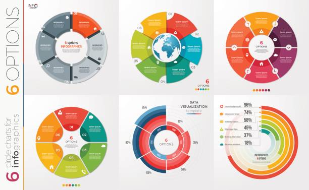 collection of 6 vector circle chart templates for infographics with 6 options. - pie chart stock illustrations, clip art, cartoons, & icons