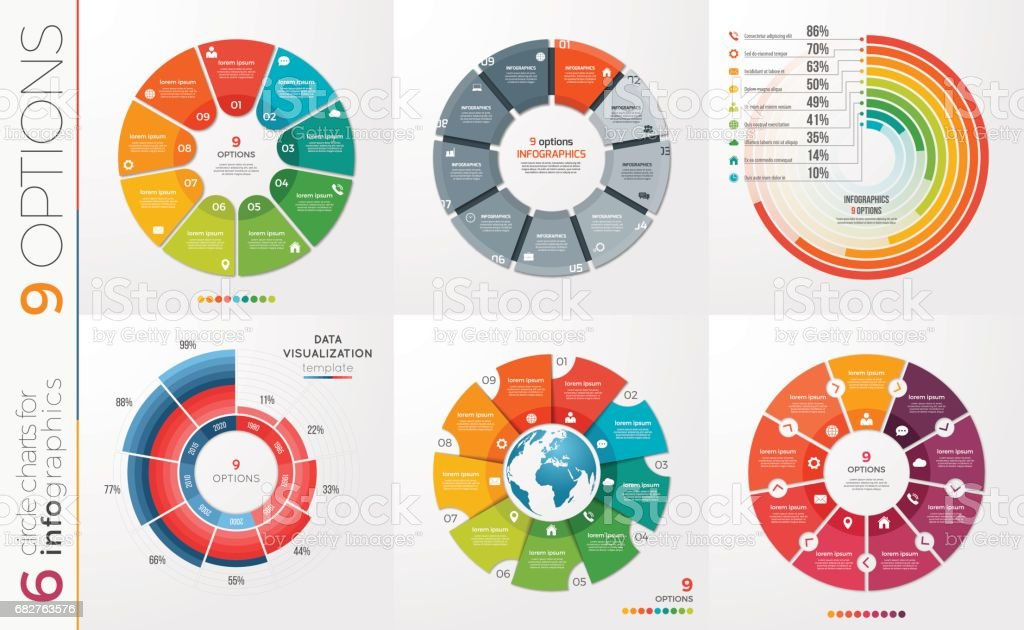 Collection of 6 vector circle chart templates for infographics with 9 options. vector art illustration