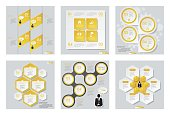 Collection of 6 yellow color template/graphic or website layout. Vector Background. For your idea and presentation. EPS 10.
