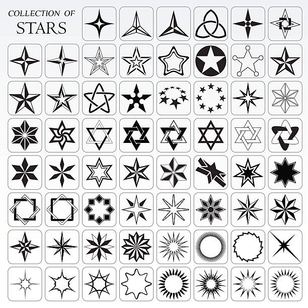 Collection of 62 useful stars and flares vector art illustration