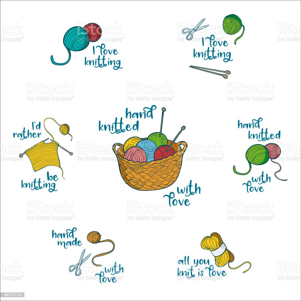 Collection of 7 labels with knitting related quotes vector art illustration
