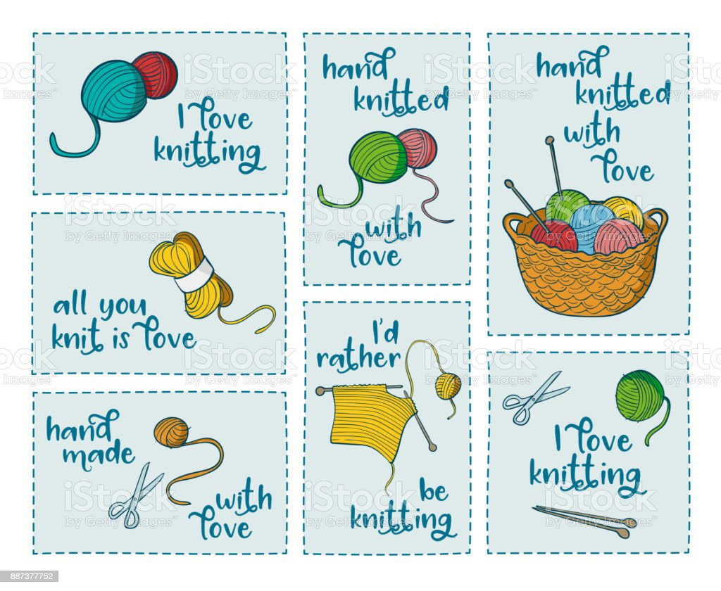 Collection of 7 stickers with knitting related quotes vector art illustration