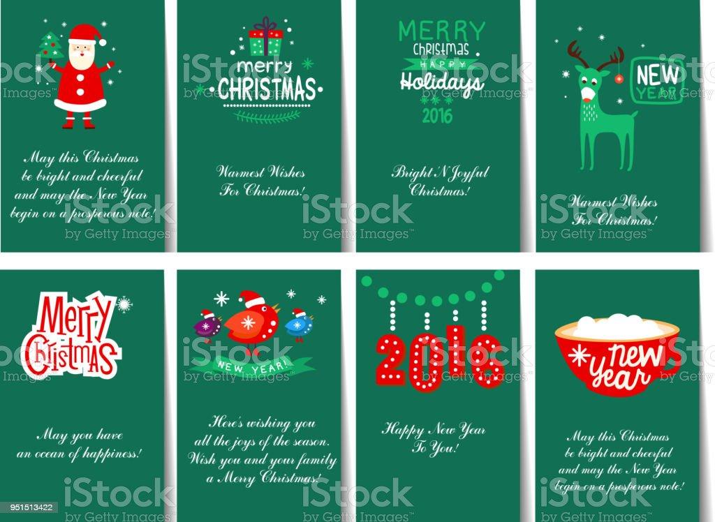 Felicitaciones De Navidad Modelos.Ilustracion De Coleccion De 8 Modelos De Tarjetas Para