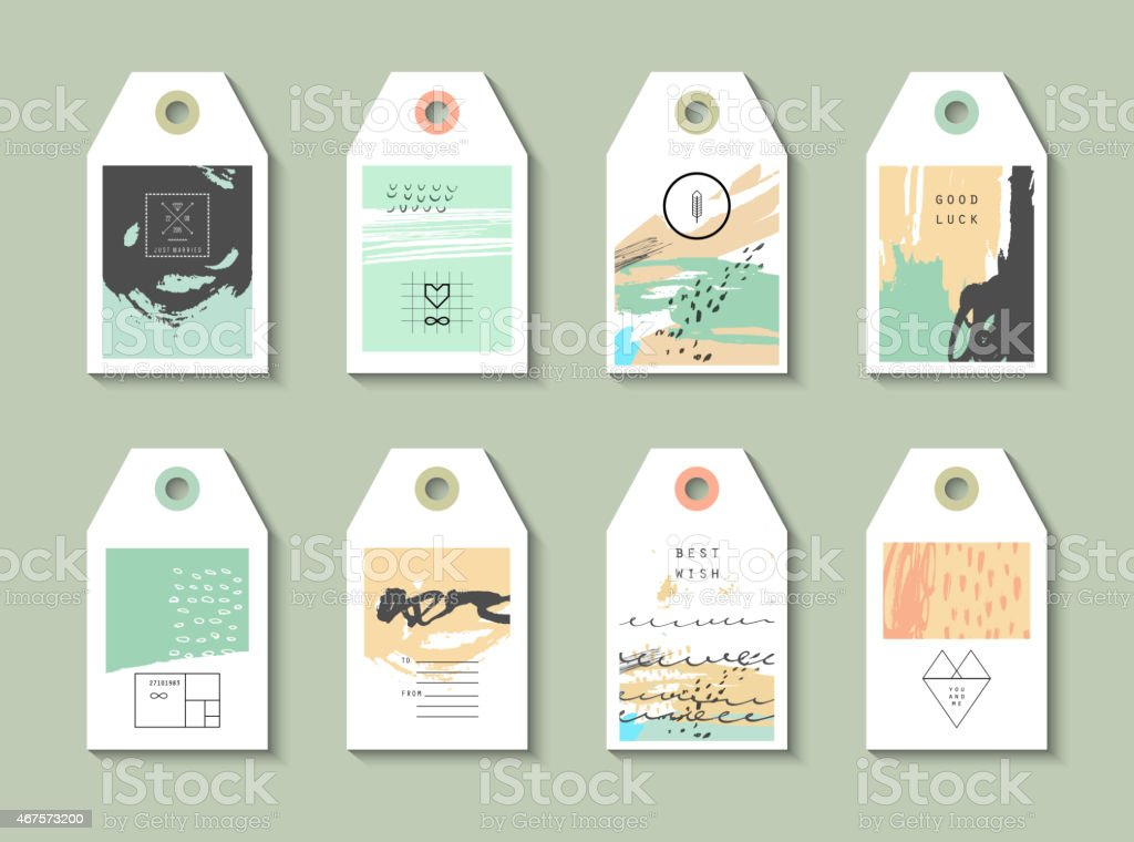 Collection of 8 Hang Tags. vector art illustration
