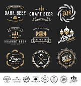 Collection of 9 Beer Badges, Stamps and Labels Design. Vector illustration