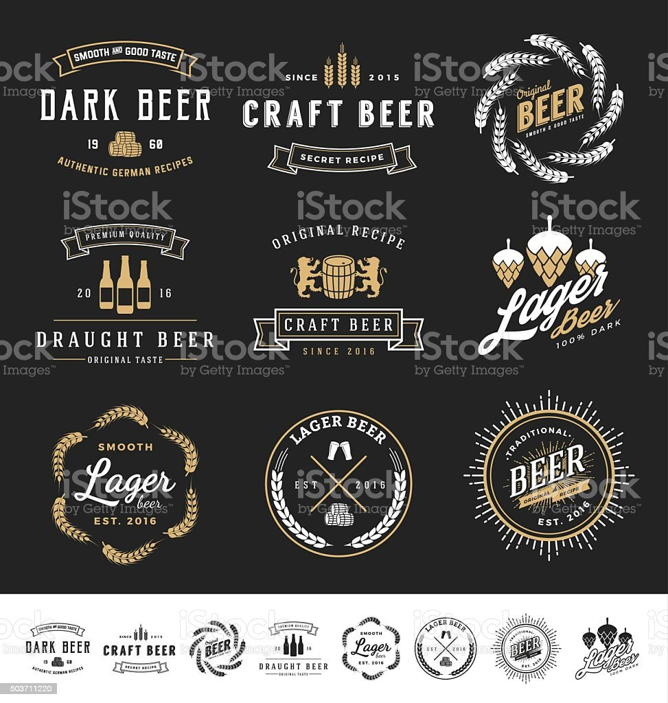 Collection of 9 Beer Badge vector art illustration