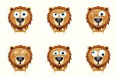 Six facial expressions of a cute little lion.