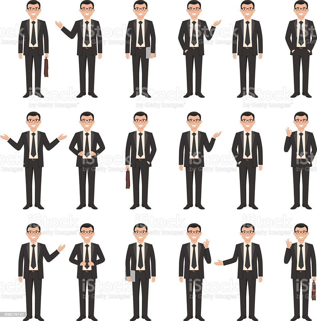 Collection of a young cartoon style smiling businessman vector art illustration