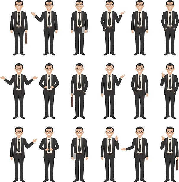 collection of a young cartoon style smiling businessman - businessman stock illustrations, clip art, cartoons, & icons