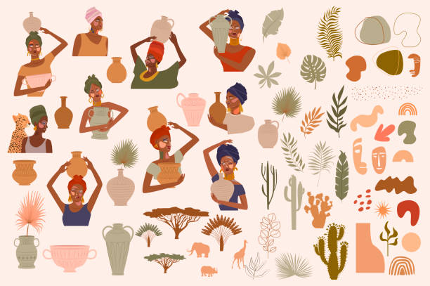 illustrazioni stock, clip art, cartoni animati e icone di tendenza di collection of abstract african women portraits, ceramic vase, jugs, bowls, tropical plants, palm leaf, cactus, animal silhouette, abstract hand draw shapes. - woman portrait forest