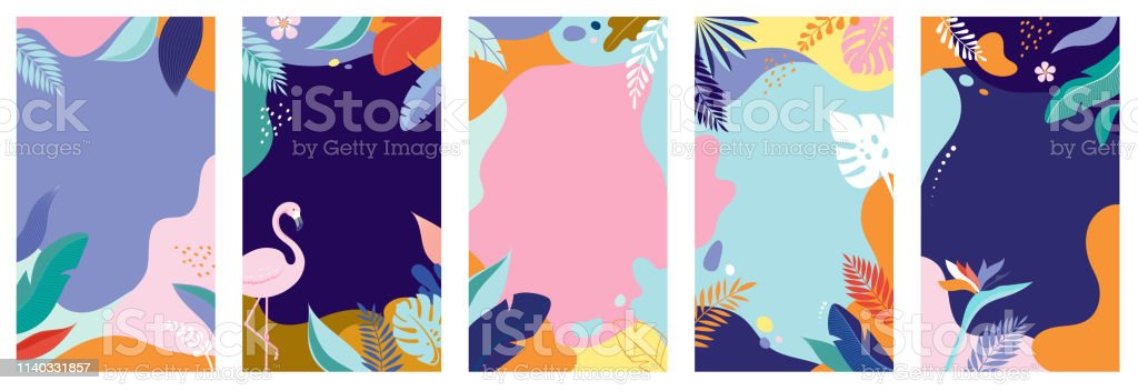 Collection of abstract background designs - summer sale, social media promotional content. Vector illustration Collection of abstract background designs - summer sale, social media promotional content. Vector illustration template Abstract stock vector