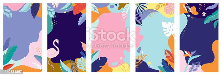 Collection of abstract background designs - summer sale, social media promotional content. Vector illustration template