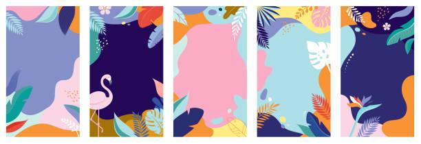 收集抽象的背景設計-夏季銷售, 社交媒體的宣傳內容。向量例證 - 大自然 幅插畫檔、美工圖案、卡通及圖標