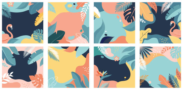 Collection of abstract background designs - summer sale, social media promotional content. Vector illustration Collection of abstract background designs - summer sale, social media promotional content. Vector illustration beach designs stock illustrations