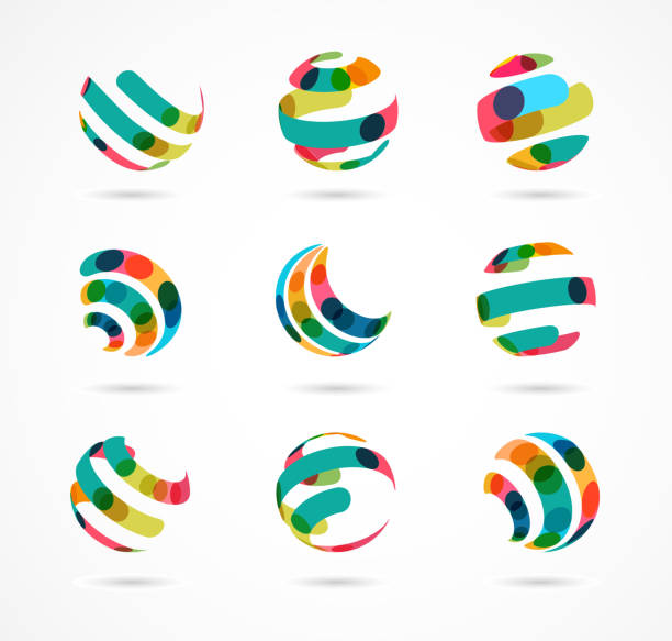 Collection of abstract colorful business icons vector art illustration