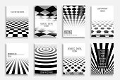 Collection of abstract contemporary templates, covers, placards, brochures, banners, flyers, booklets, posters backgrounds. Black and white futuristic design. Chek mosaic texture.