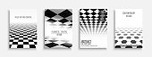 Collection of abstract contemporary templates, covers, placards, brochures, banners, flyers, booklets, posters backgrounds - Black and white futuristic design.