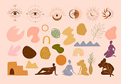 Collection of abstract shape,esoteric symbol,  Eye of Horus and women body silhouette