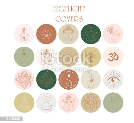 Collection of Abstract various vector highlight covers with buddhism and hinduism, yoga objects, esoteric and boho objects for social media stories. Editable vector illustration