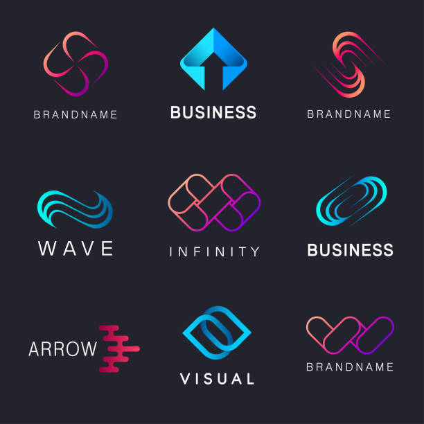 collection of abstract vector design element for business - alphabet icons stock illustrations