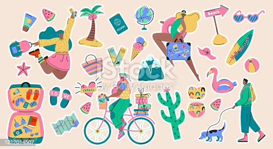 Collection of adventure tourism, travel abroad, summer vacation trip stickers, hiking and backpacking decorative design elements isolated on white background. Flat cartoon colorful vector illustration