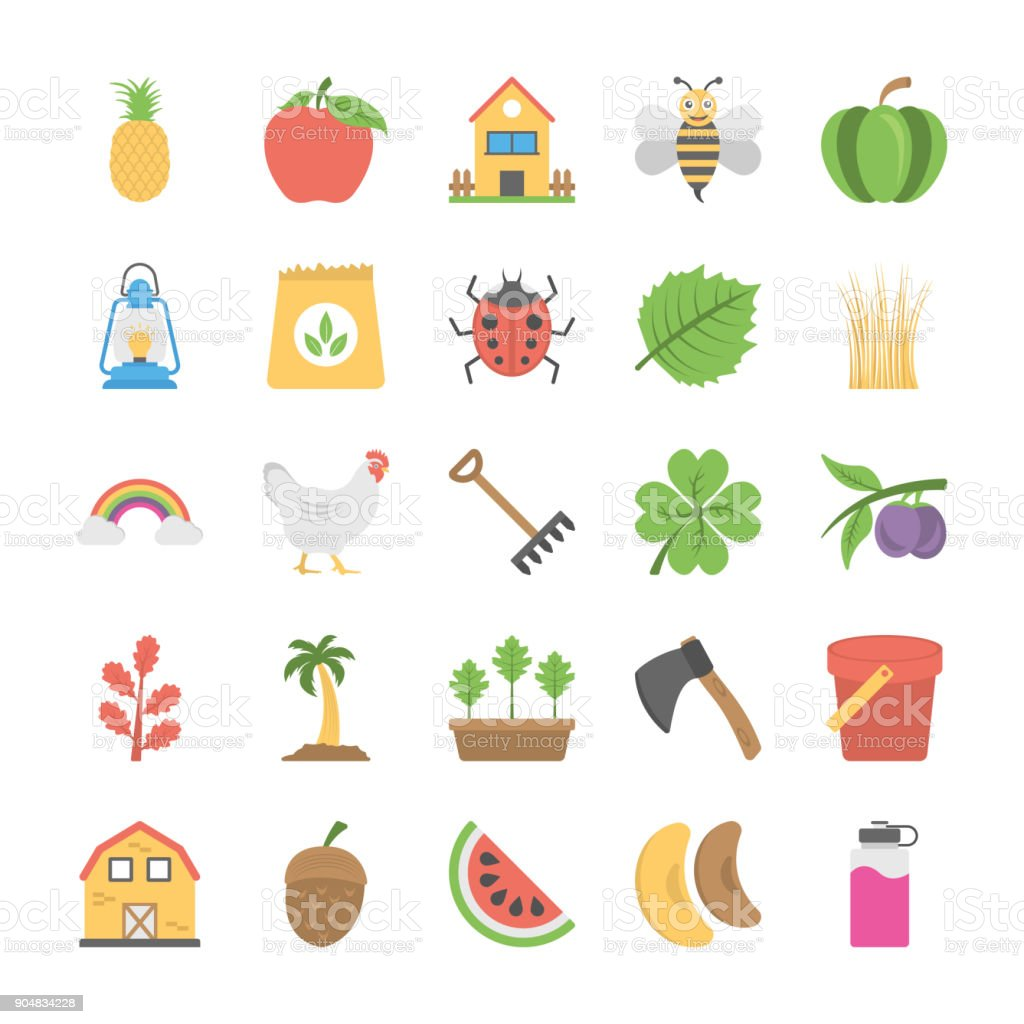 Collection of Agriculture and Farming Flat Icons vector art illustration