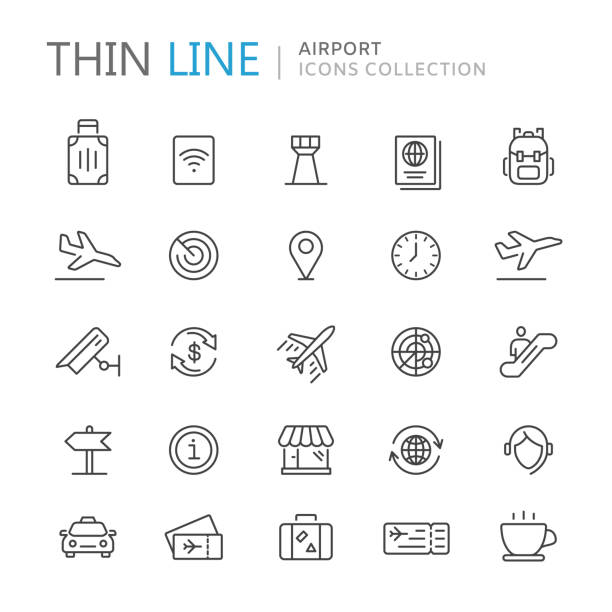 Collection of airport thin line icons vector art illustration