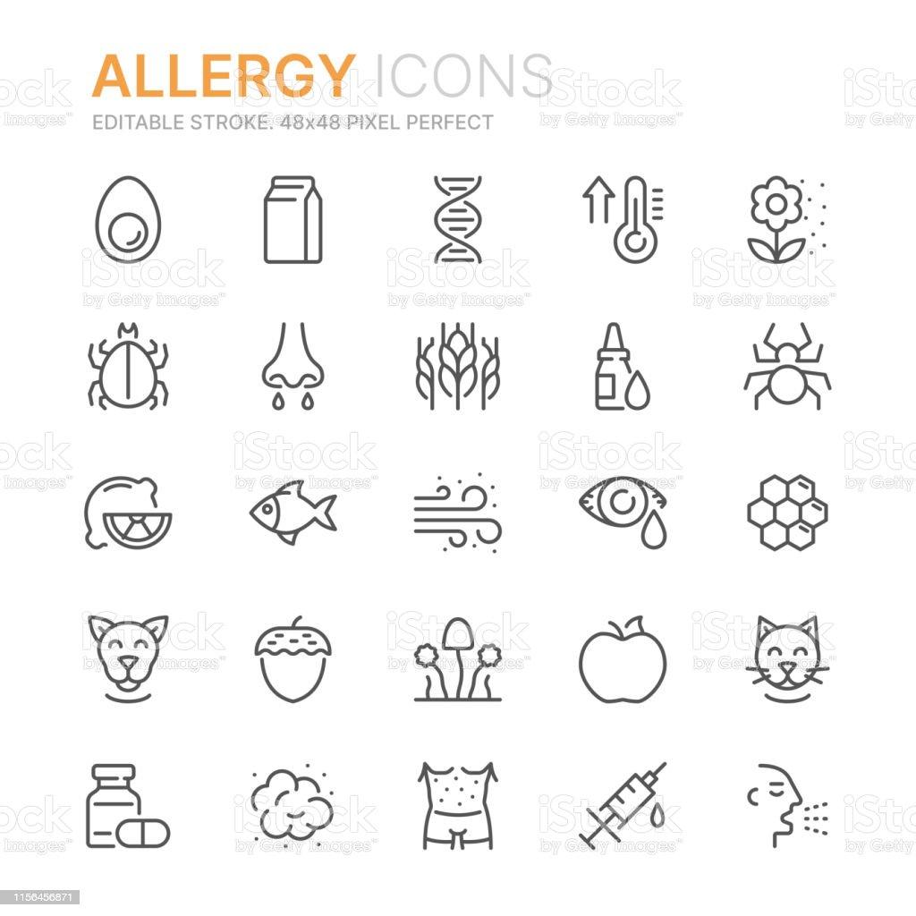 Verzameling van allergie gerelateerde lijn iconen. 48x48 pixel perfect. Bewerkbare lijn - Royalty-free Allergie vectorkunst