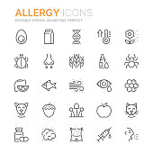 Collection of allergy related line icons. 48x48 Pixel Perfect. Editable stroke