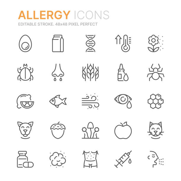 Collection of allergy related line icons. 48x48 Pixel Perfect. Editable stroke Collection of allergy related line icons. 48x48 Pixel Perfect. Editable stroke pollen stock illustrations