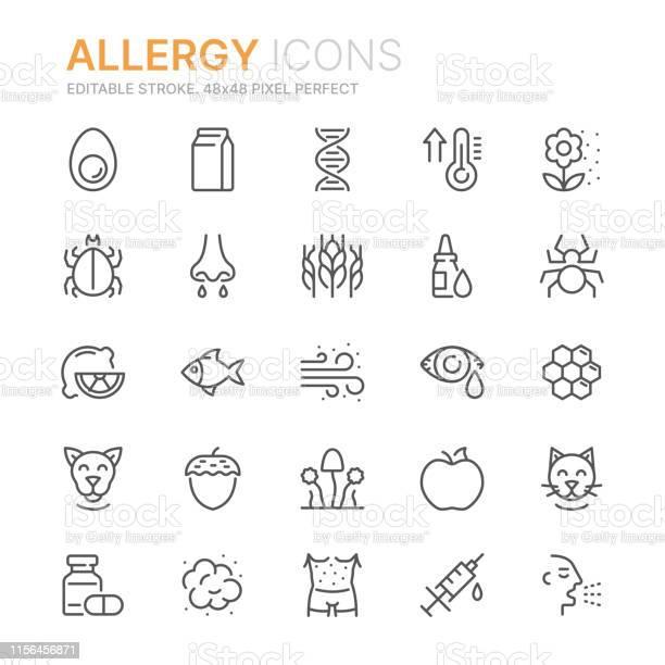 Verzameling Van Allergie Gerelateerde Lijn Iconen 48x48 Pixel Perfect Bewerkbare Lijn Stockvectorkunst en meer beelden van Allergie
