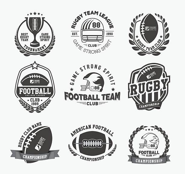 sammlung von amerikanischen rugby-abzeichen - rugby stock-grafiken, -clipart, -cartoons und -symbole