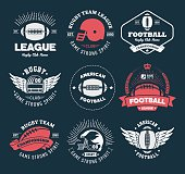 Collection of american rugby badges