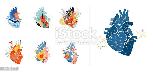 istock Collection of anatomical heart modern print design, art work 1264452701