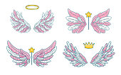 Collection of angel wings in cute little princess style, pink and white palette. Magic accessories - wand, crown and halo. Vector illustration isolated on white.