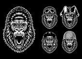 Fully editable vector illustration of angry gorilla characters, image suitable for mascot, logo, sticker, emblem, badge, tattoo, poster or graphic t-shirt