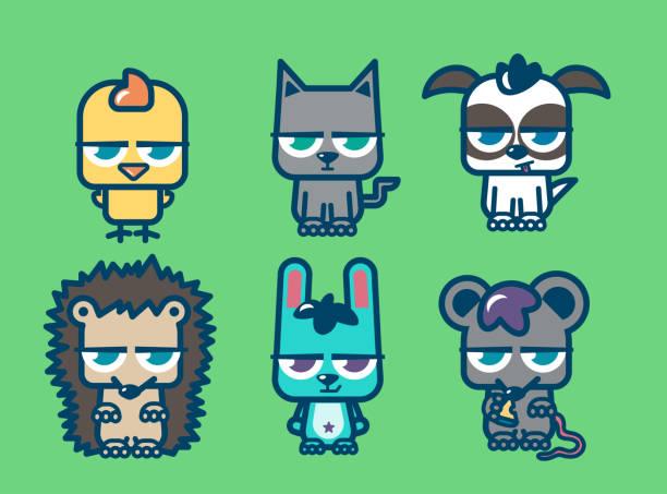 Colección de mascotas enojadas - ilustración de arte vectorial