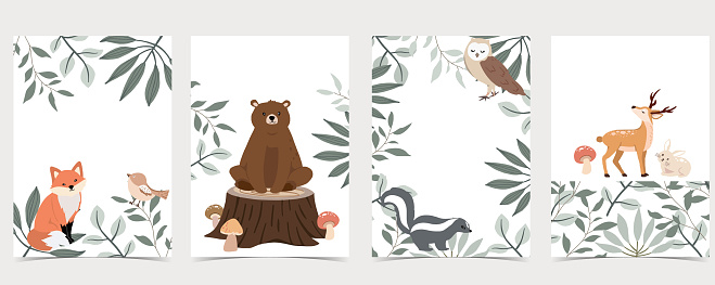Collection of animal cards set with bear,skunk.Vector illustration for birthday invitation,postcard and sticker.Editable element