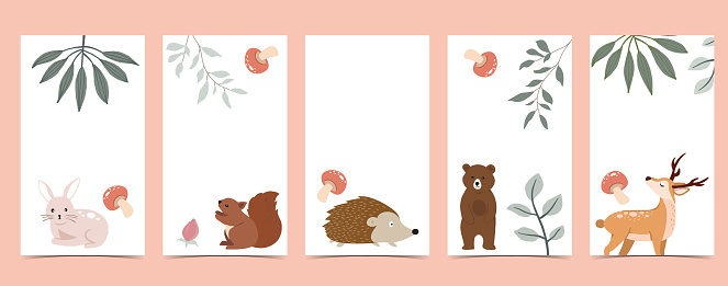 Collection of animal design with bear,leaf.Editable vector illustration for website, invitation,postcard and banner