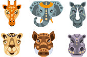 Collection of Animal Heads with Tribal Ethnic Ornament, Giraffe, Elephant, Rhino, Camel, Wild Boar, Hippo Vector Illustration on White Background.