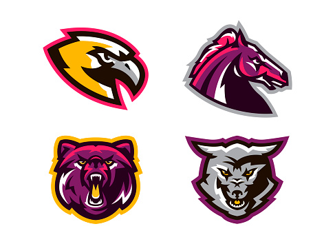 Collection of animal logos. A wolf, a coyote, a bear, a grizzly, a hawk, an eagle, a horse, a stallion. Identity for sports club, mascots. Vector illustration