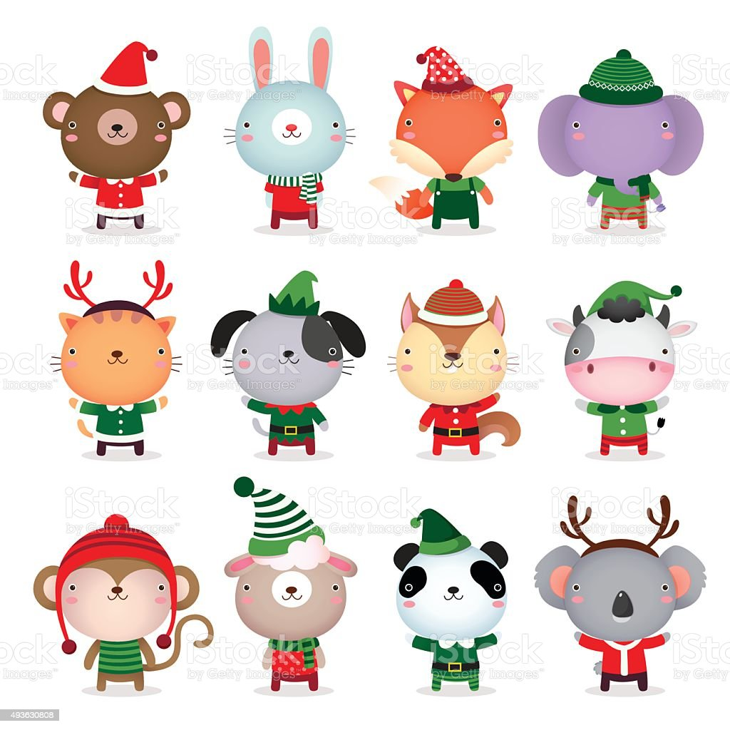 Collection of animals design with Christmas and winter theme costumes vector art illustration