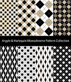 Collection of Argyle / Harlequin / Rhombus patterns. Black and White seamless decorative backgrounds.