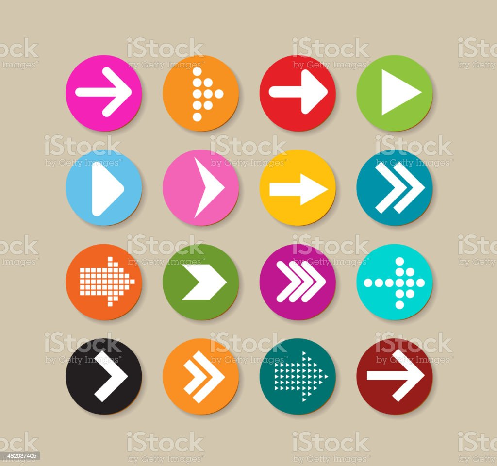 Collection Of Arrow Labels And Icons vector art illustration