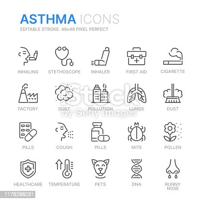 Collection of ashma related line icons. 48x48 Pixel Perfect. Editable stroke