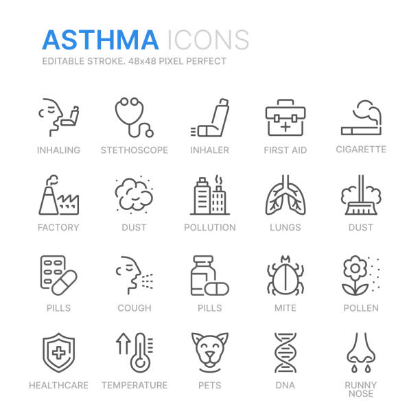 Collection of ashma related line icons. 48x48 Pixel Perfect. Editable stroke Collection of ashma related line icons. 48x48 Pixel Perfect. Editable stroke inhaling stock illustrations